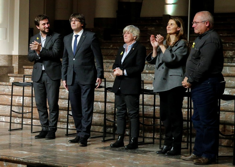 Former Catalan leader Carles Puigdemont and former cabinet members attend a meeting with Catalan mayors in Brussels