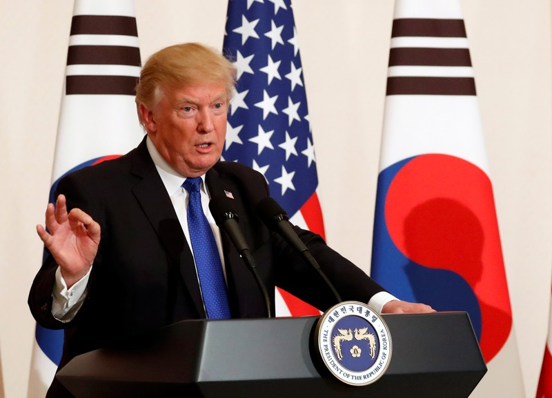 U.S. President Donald Trump and South Korea's President Moon Jae-in hold a news conference at South Korea's presidential Blue House in Seoul, South Korea