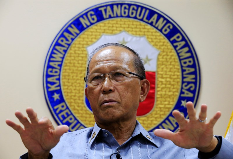 Philippine Defence Secretary Delfin Lorenzana gestures during a Reuters interview at the military headquarters of Camp Aquinaldo in Quezon city, metro Manila