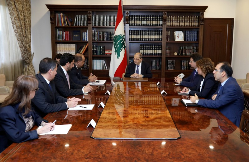 Lebanese President Aoun meets with delegation from World Bank at the presidential palace in Baabda