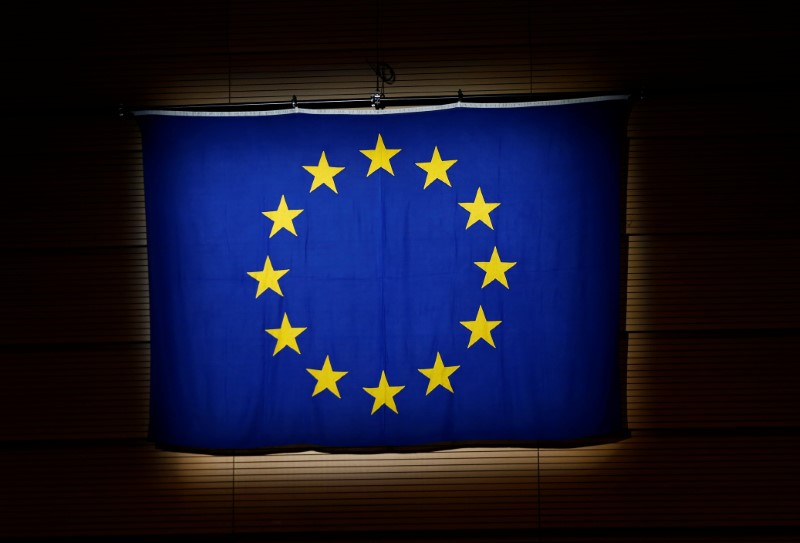 An European Union (EU) flag is pictured during a ceremony in Lausanne