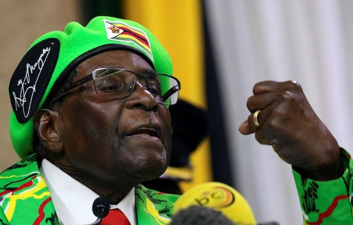 Zimbabwean President Robert Mugabe addresses a meeting of his ruling ZANU PF party's youth league in Harare