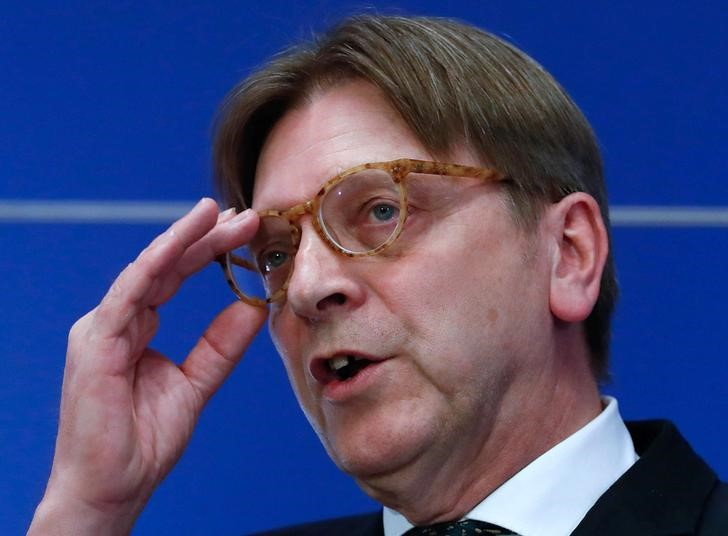 European Union's chief Brexit negotiator Guy Verhofstadt holds a news conference following the official triggering of Article 50 of the Lisbon Treaty, the Brexit in Brussels