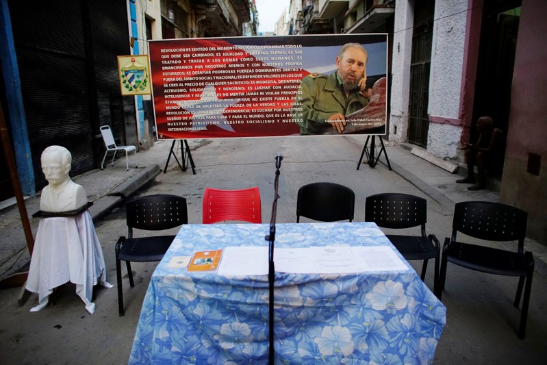 A bust of Cuban independence hero Jose Marti and an image of Cuban late President Fidel Castro is seen on a street where is about to take place nominations for candidates for municipal assemblies in Havana, Cuba