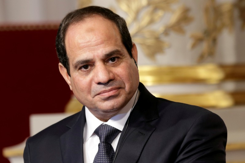 FILE PHOTO - Egyptian President Abdel Fattah al-Sisi delivers a statement at the Elysee Palace in Paris