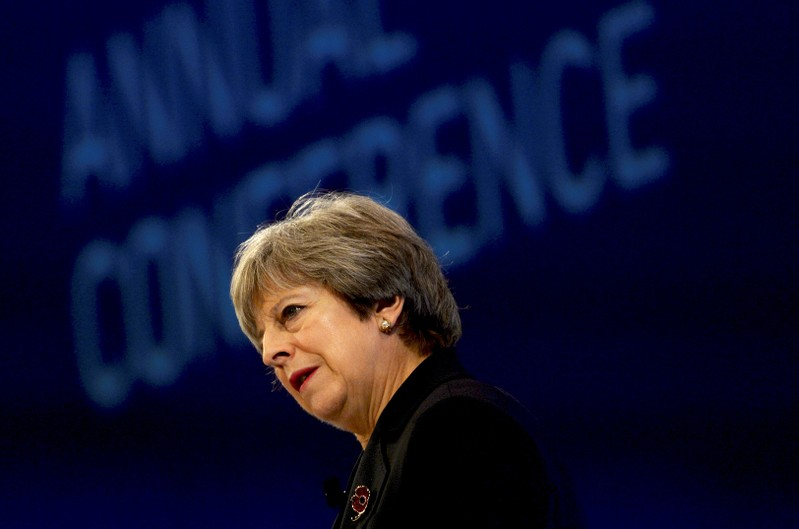 Britain's Prime Minister Theresa May speaks at the Conferederation of British Industry's annual conference in London