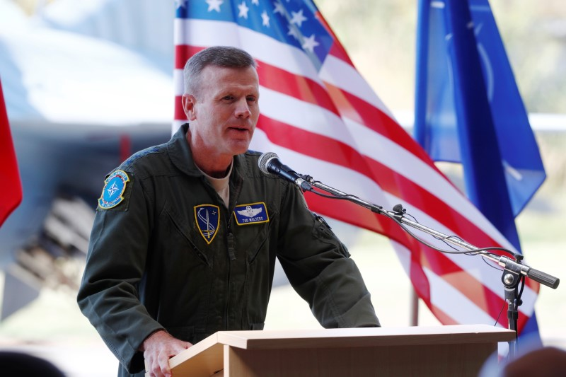 U.S. Air Forces in Europe Commander Wolters speaks during NATO Baltic air policing mission takeover ceremony in Siauliai