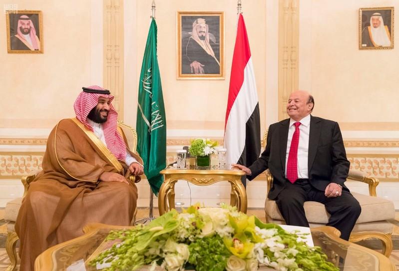 Yemeni President Abd-Rabbu Mansour Hadi meets with Saudi Crown Prince Mohammed bin Salman in Riyadh