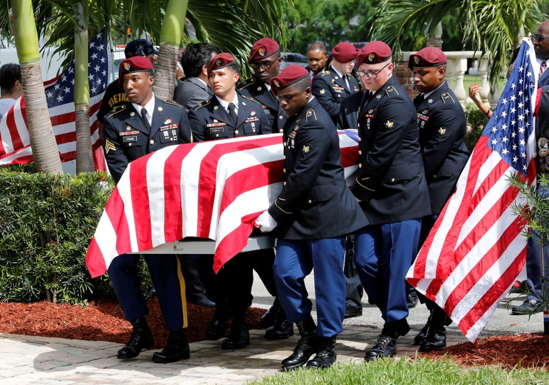 FILE PHOTO:An honor guard carries the coffin of U.S. Army Sergeant La David Johnson, who was among four special forces soldiers killed in Niger, at a graveside service in Hollywood