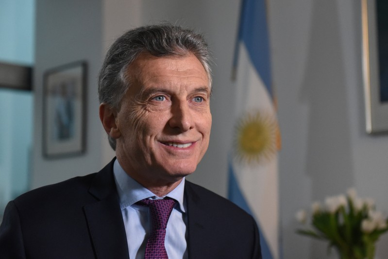Argentine President Mauricio Macri speaks during an interview with Reuters in New York