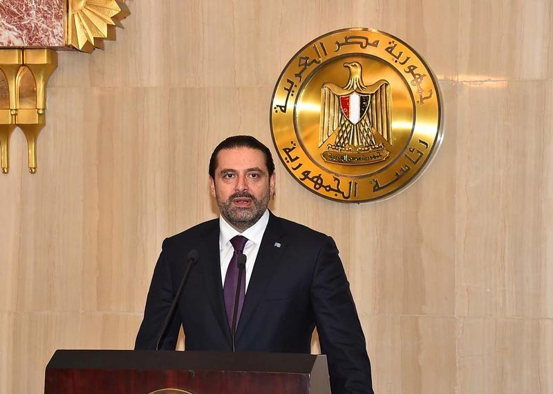 Saad al-Hariri, who announced his resignation as Lebanon's prime minister from Saudi Arabia, speaks after meeting with Egyptian President Abdel Fattah al-Sisi at the Ittihadiya presidential palace in Cairo
