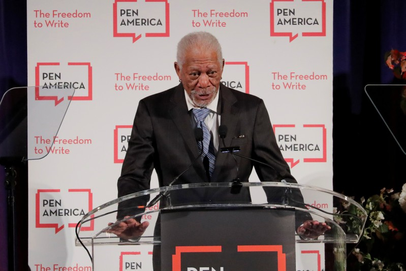 Actor Morgan Freeman speaks at the PEN America Literary Gala in New York
