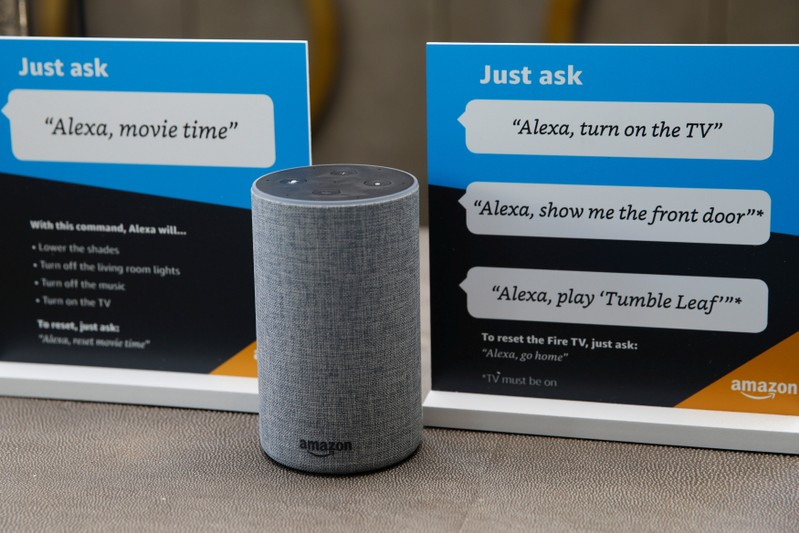 Prompts on how to use Amazon's Alexa personal assistant are seen in an Amazon 'experience centre' in Vallejo