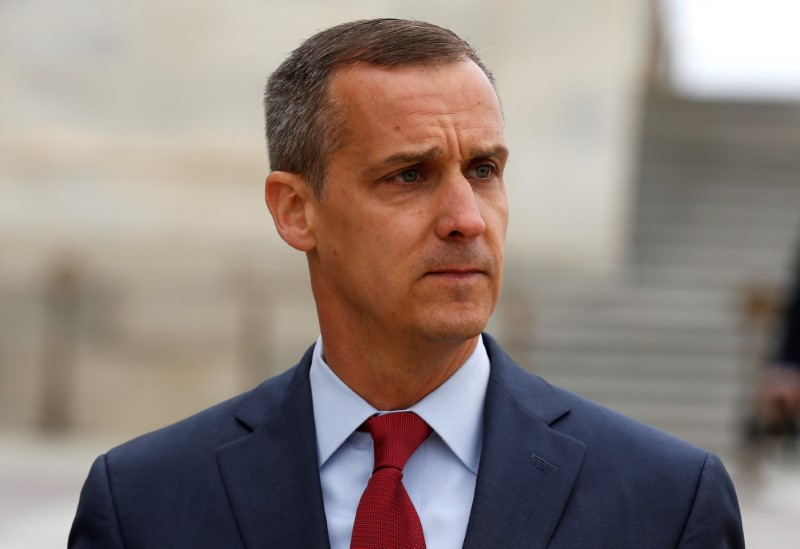 Former Trump campaign manager Corey Lewandowski departs after appearing before the House Intelligence Committee on Capitol Hill in Washington