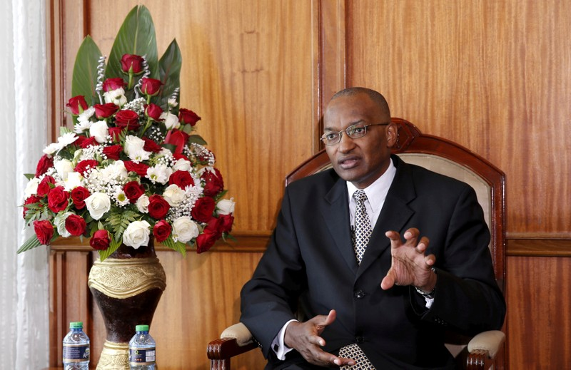 FILE PHOTO: Kenya Central Bank Governor Patrick Njoroge speaks during an interview with Reuters in his office in the capital Nairobi
