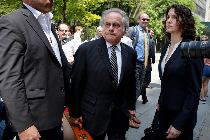Benjamin Brafman, Lawyer for Film producer Harvey Weinstein, exits the Manhattan Criminal Court following a meeting in New York