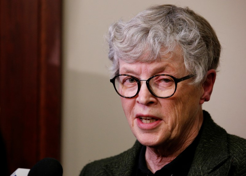 FILE PHOTO - Michigan State University (MSU) President Lou Anna Simon speaks after being confronted by victims during a break at the sentencing hearing for Larry Nassar, a former team USA Gymnastics doctor who pleaded guilty in November 2017 to sexual assa