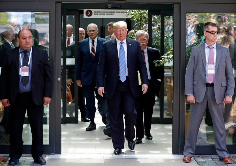 U.S. President Donald Trump departs from the G7 summit in the Charlevoix city of La Malbaie