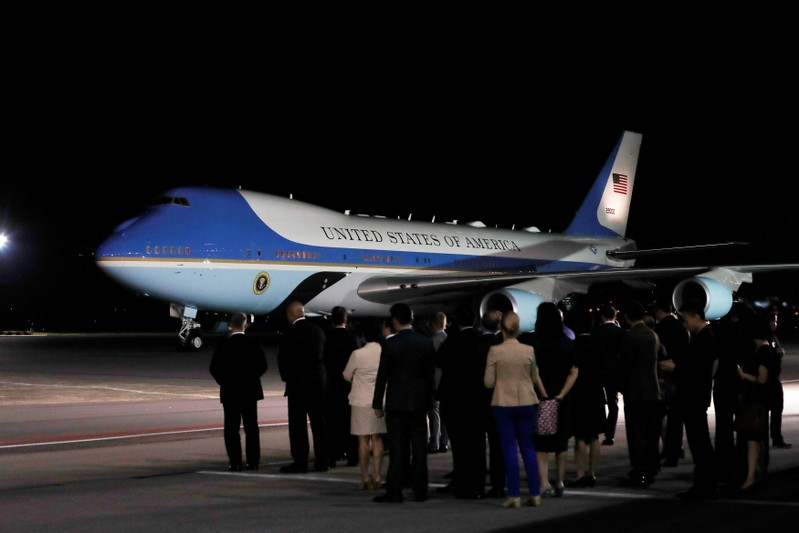 The plane carrying U.S. President Donald Trump arrives at Paya Lebar Air Base in Singapore