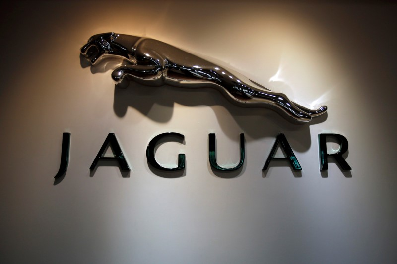 The Jaguar logo is pictured at a Jaguar Land Rover showroom in Mumbai
