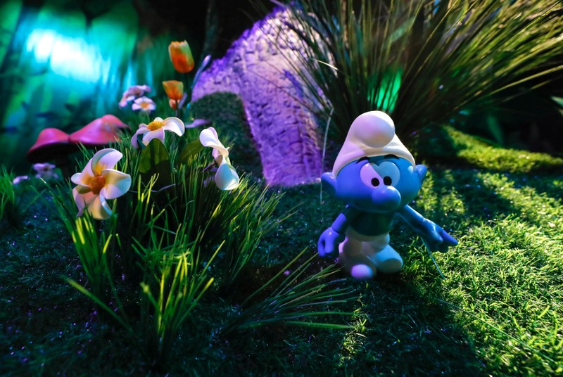 A Smurf character is seen at the Smurf Experience exhibition in Brussels