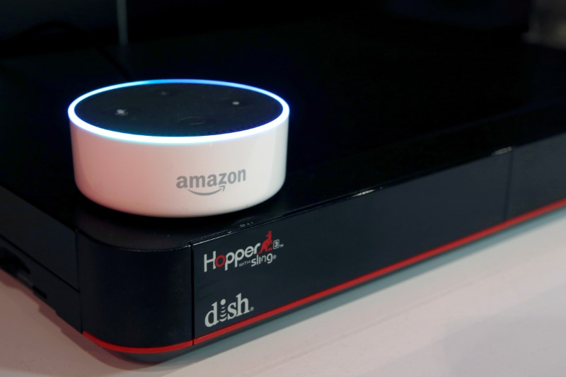 FILE PHOTO:    An Amazon Dot is shown on top of a Hopper at the Dish Network booth during the 2017 CES in Las Vegas