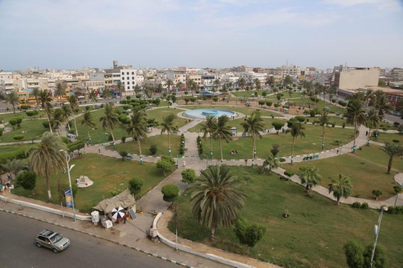 view of the Red Sea port city of Hodeidah, Yemen