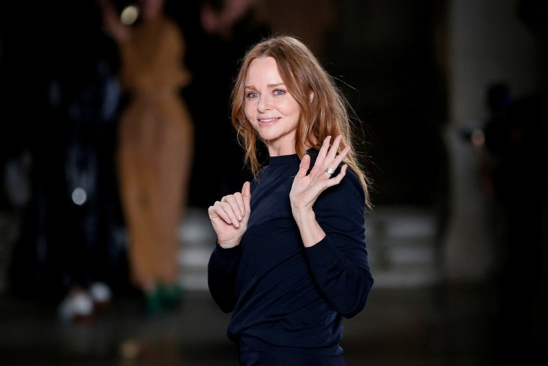 FILE PHOTO: British designer Stella McCartney appears at the end of her Fall/Winter 2017-2018 women's ready-to-wear collection show during the Paris Fashion Week, in Paris