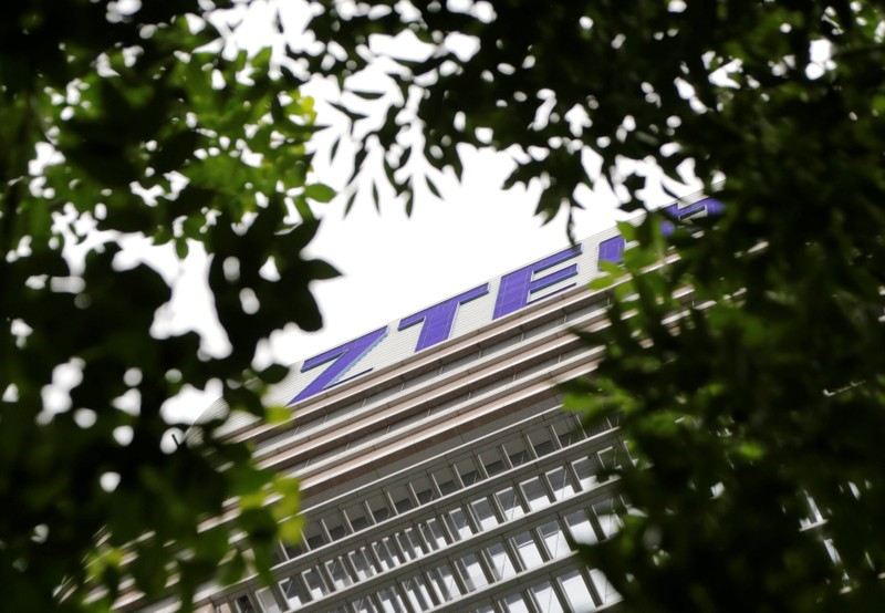 The logo of China's ZTE Corp is seen on the building of ZTE Beijing research and development center in Beijing