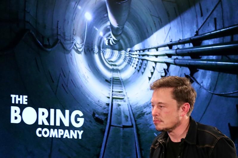 FILE PHOTO - Elon Musk arrives to speak at Boring Company community meeting in Bel Air, Los Angeles