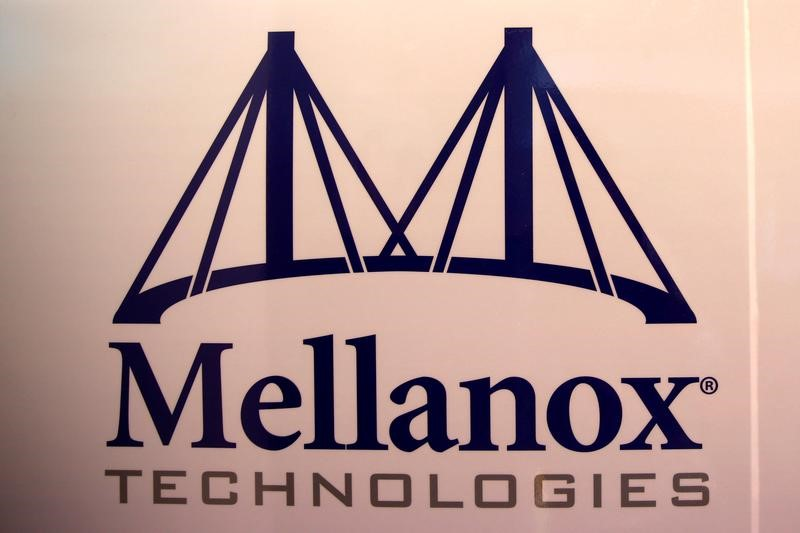 FILE PHOTO: The logo of Mellanox Technologies is seen at the company's headquarters in Yokneam, in northern Israel