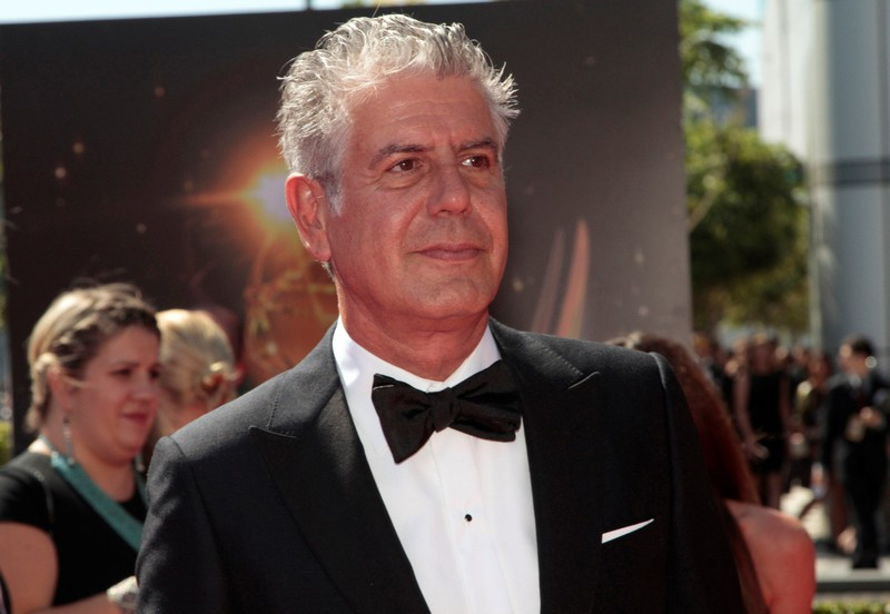 FILE PHOTO: Chef and television personality Bourdain arrives at the 65th Primetime Creative Arts Emmy Awards in Los Angeles