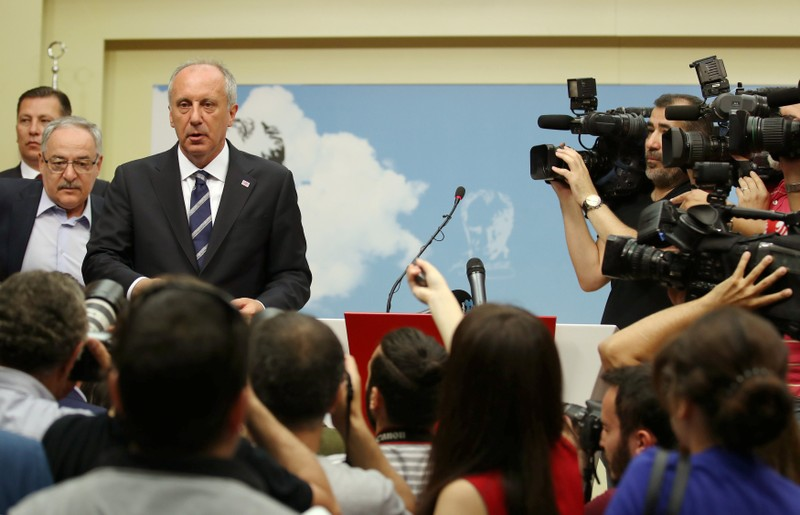 Muharrem Ince, presidential candidate of main opposition Republican People's Party (CHP) holds a news conference to assess election results in Ankara
