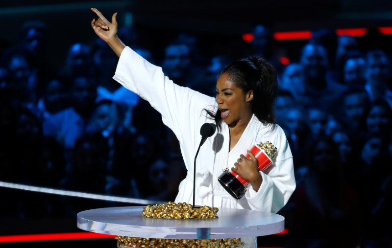 FILE PHOTO: Host Haddish accepts the award for Best Comedic Performance at the 2018 MTV Movie & TV Awards at Barker Hangar in Santa Monica