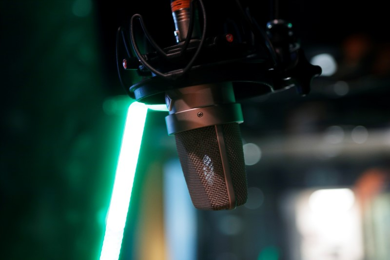 A microphone is seen at a recording studio in Vienna