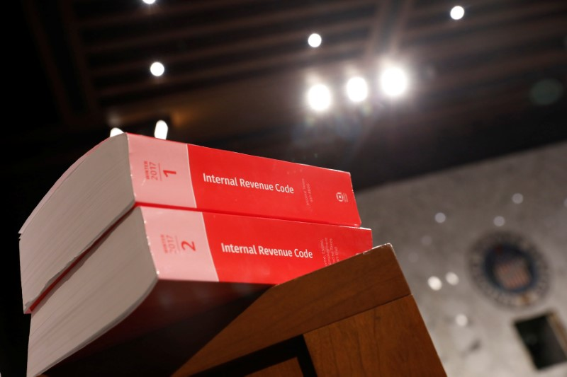 FILE PHOTO: Copies of tax legislation are seen during a markup on the