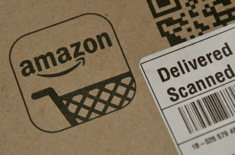 FILE PHOTO: An Amazon package is seen after being delivered in London