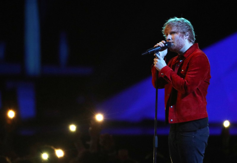 FILE PHOTO: Ed Sheeran performs at the Brit Awards at the O2 Arena in London