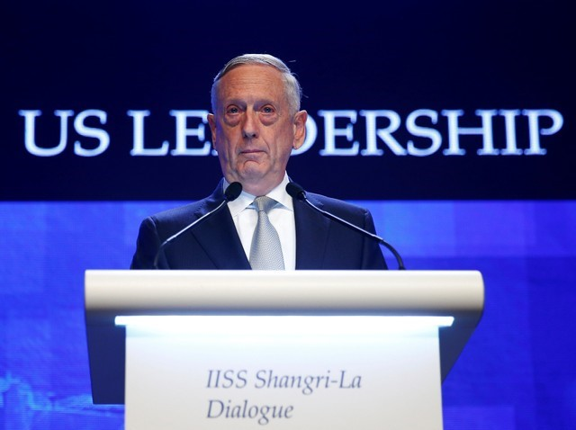 U.S. Secretary of Defence Jim Mattis speaks at the IISS Shangri-la Dialogue in Singapore