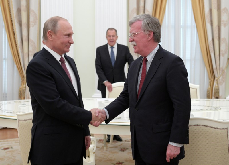 FILE PHOTO: Russia's President Putin meets with U.S. National Security Adviser Bolton in Moscow