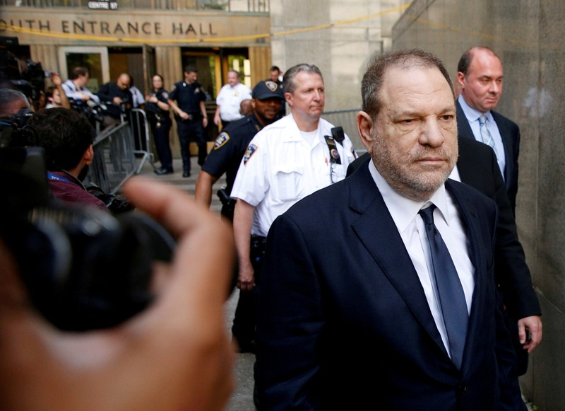 FILE PHOTO: Film producer Harvey Weinstein leaves court in Manhattan