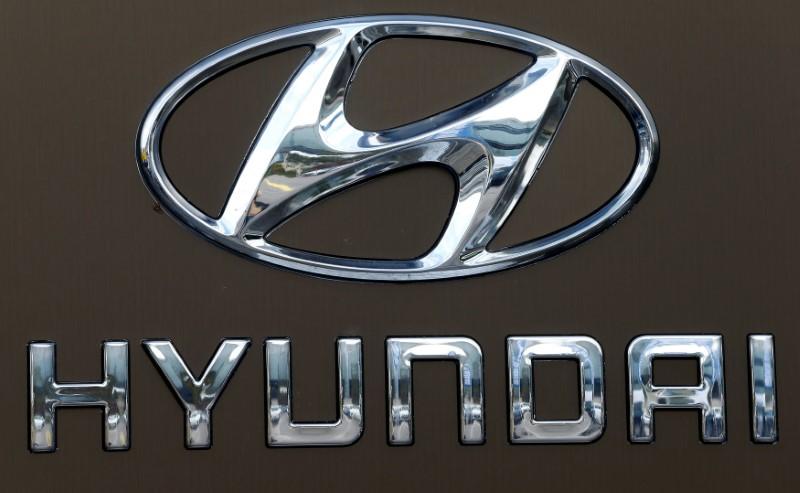 FILE PHOTO - Logo of South Korean car manufacturer Hyundai is seen in Dietlikon