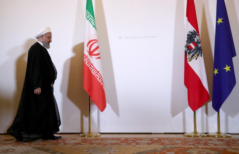 Iran's President Hassan Rouhani arrives at the Austrian Chancellery in Vienna