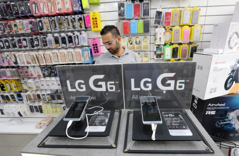 FILE PHOTO: LG Electronics smart phones seen inside the Class cellphone store in Beirut