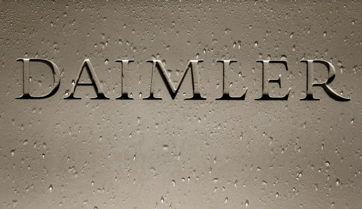 FILE PHOTO - Daimler AG sign with raindrops is pictured before company's annual news conference in Stuttgart