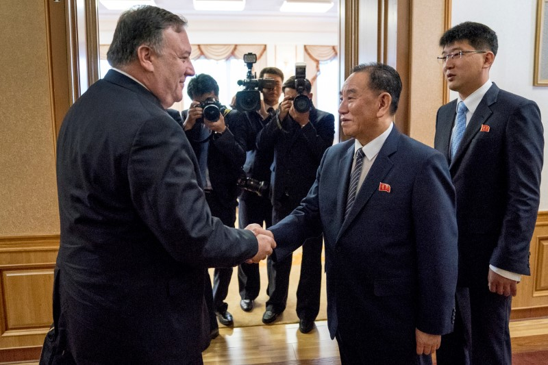 Mike Pompeo meets with Kim Yong Chol for a second day of talks at the Park Hwa Guest House in Pyongyang, North Korea