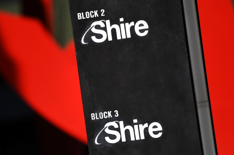 Shire branding is seen outside their offices in Dublin