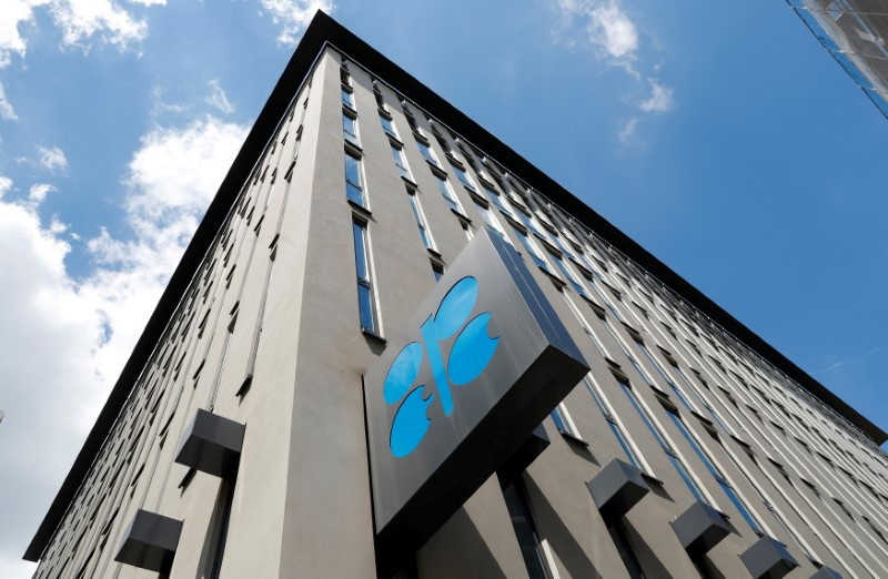 FILE PHOTO: OPEC logo is seen at OPEC's headquarters in Vienna