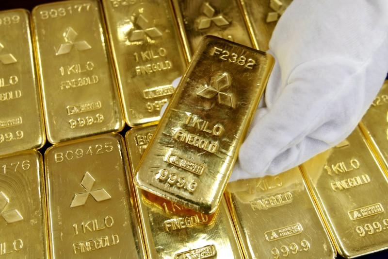 Gold bars are displayed at Mitsubishi Materials Corporation in Tokyo