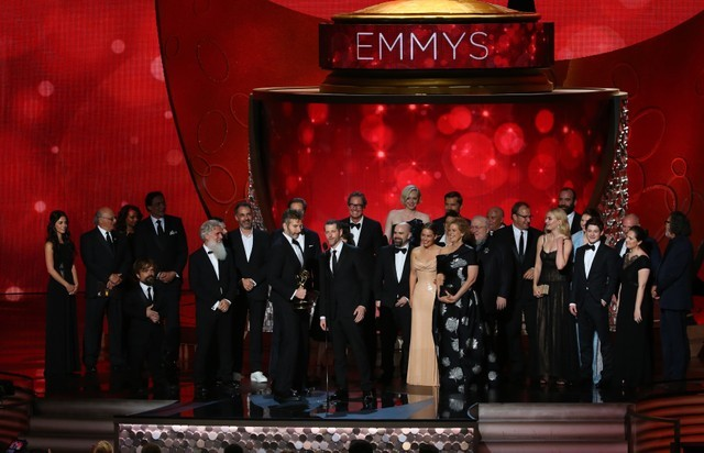 FILE PHOTO: Executive Producers Benioff and Weiss accept the award for Oustanding Drama Series with the cast and crew at the 68th Primetime Emmy Awards in Los Angeles